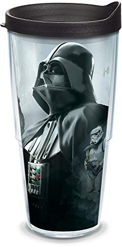 Tervis 1309697 Star Wars - Darth Empire Insulated Tumbler with Wrap and Black Lid, 24oz, Clear