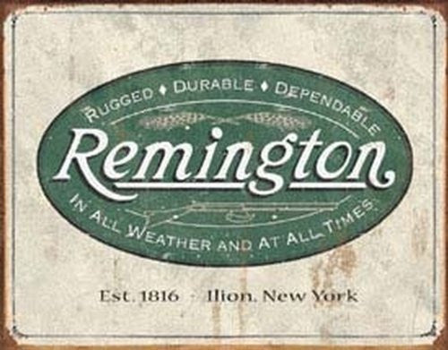 Remington Guns Rifles Hunting In All Weather Logo Distressed Retro Vintage Tin Sign - Back40Trading2