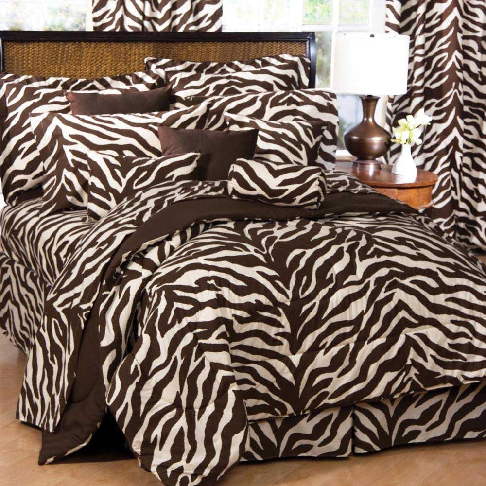 Zebra Bed in a Bag - Brown/Tan (Queen) - Back40Trading2