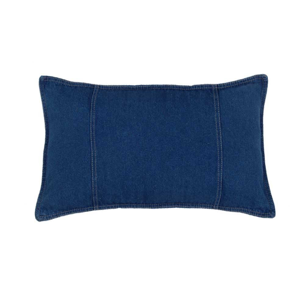 "Karin Maki Blue Denim Oblong Pillow - 14""x20"""