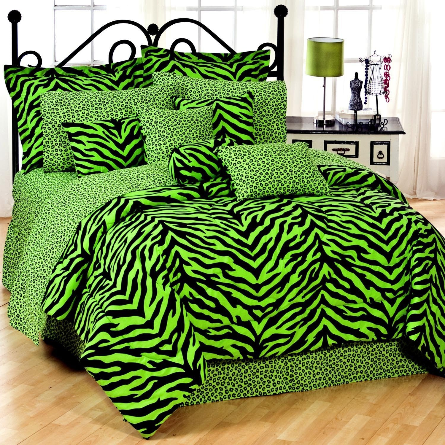 Zebra Print Bed Bed in a Bag - Lime Green and Black - XL Twin - Back40Trading2