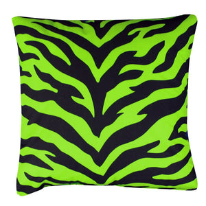 Zebra Synthetic Square Pillow Color: Lime - Back40Trading2