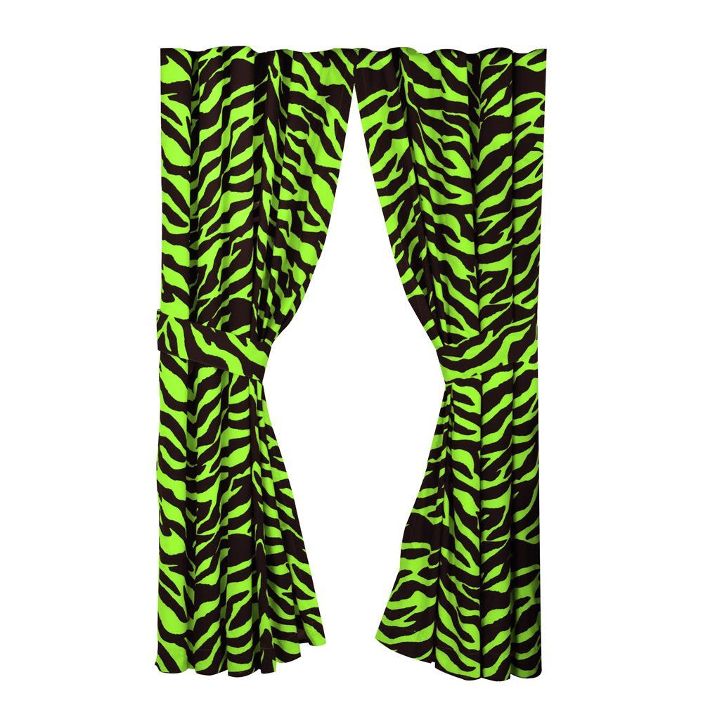 Zebra Print Rod Pocket Drapes - Lime Green/Black - Back40Trading2
