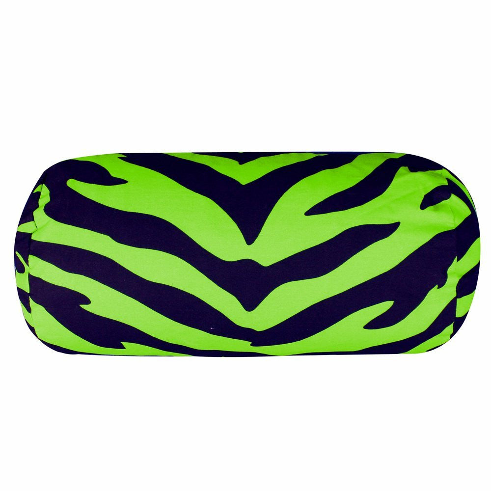 Zebra Synthetic Neckroll Pillow Color: Lime - Back40Trading2