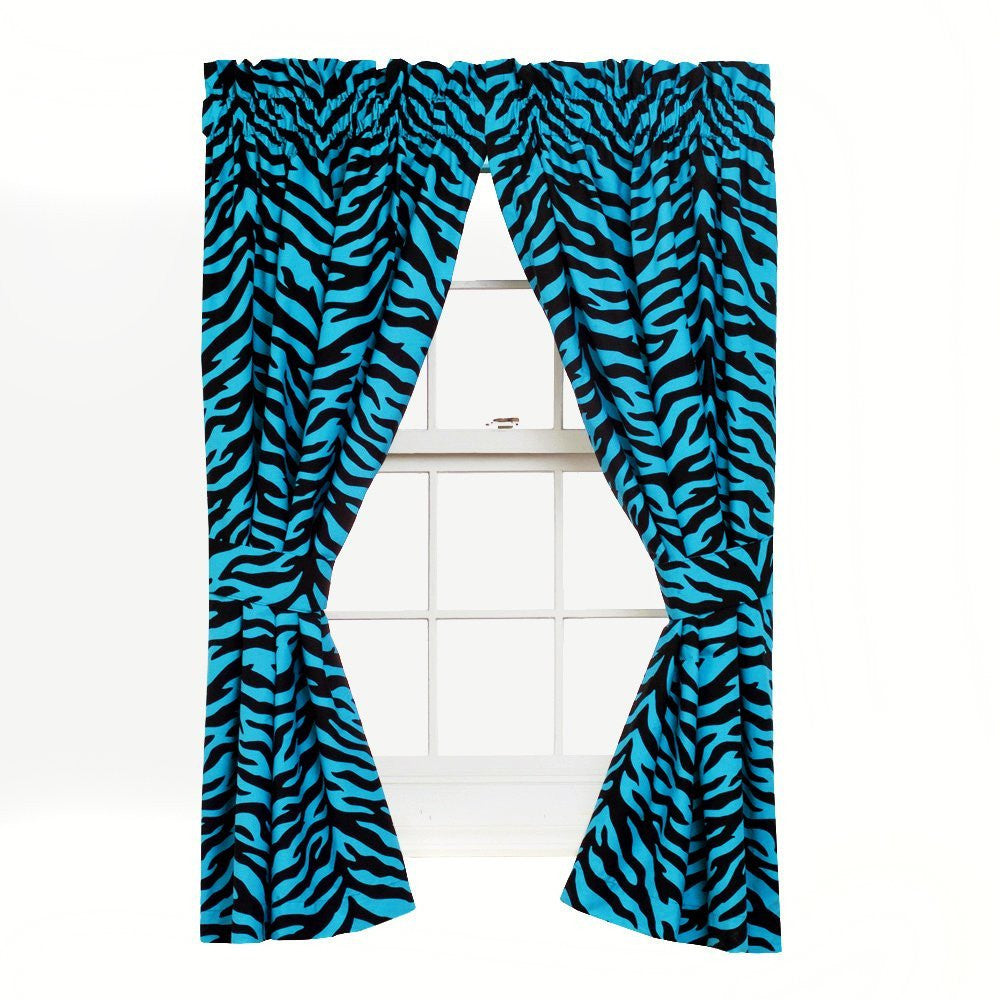 Blue Zebra Curtains - 63 Inch, Pair [Kitchen] - Back40Trading2