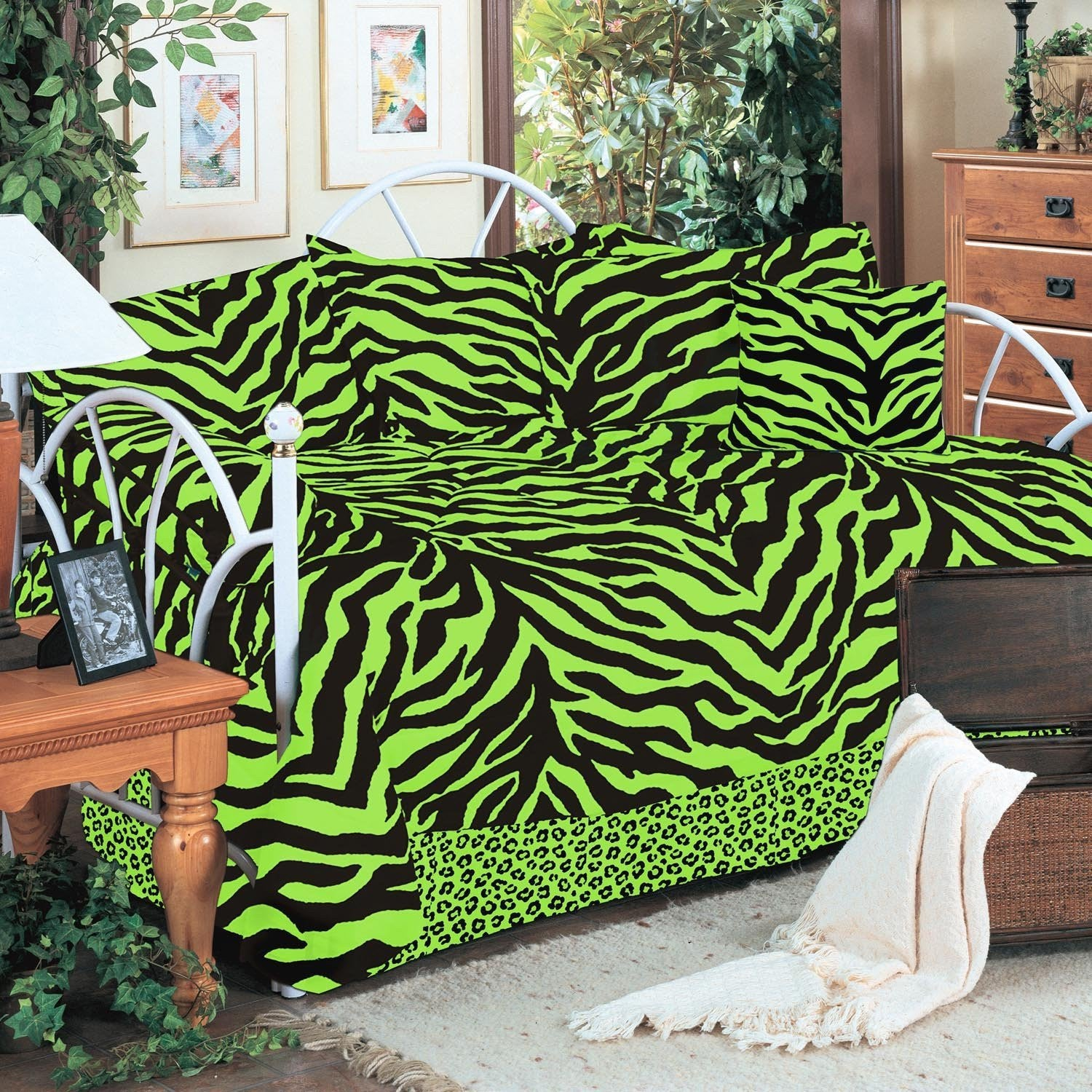 Zebra Lime Daybed Cover Set - Back40Trading2
