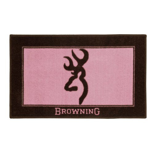 Browning Buckmark Bath Mat in Brown / Pink - Back40Trading2