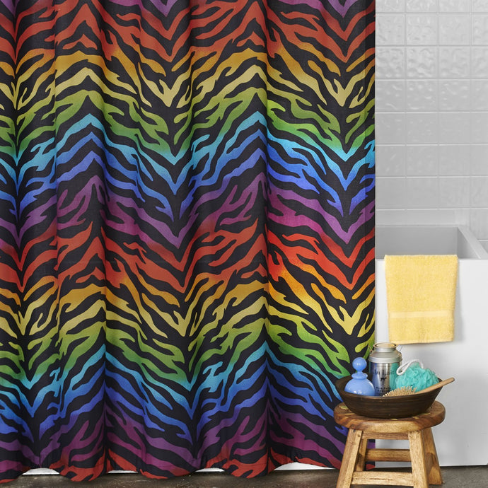 Zebra Rainbow Collection Shower Curtain - Back40Trading2