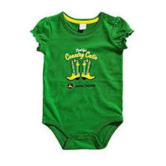"John Deere Newborn Baby Girls ""Country Cutie"" Onesie Green - Back40Trading2"
