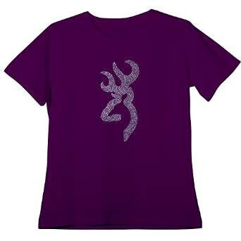 Browning Women's True Bling Buckmark Fitted T-shirt Eggplant - Back40Trading2