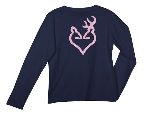 Browning Women's Buck Heart Buckmark Solid Long Sleeved T-shirt Navy - Back40Trading2  - 1