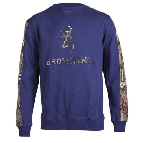 Browning Men's Chesdin Crew Crewneck Sweatshirt Camo Buckmark and Logo Navy - Back40Trading2