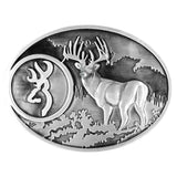 Browning Men's Whitetail Deer and Buckmark Belt Buckle One Size Silver One Size - Back40Trading2