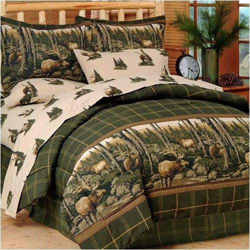 Blue Ridge Trading Rocky Mountain Elk Complete Bed Set, Queen, Green/Brown - Back40Trading2