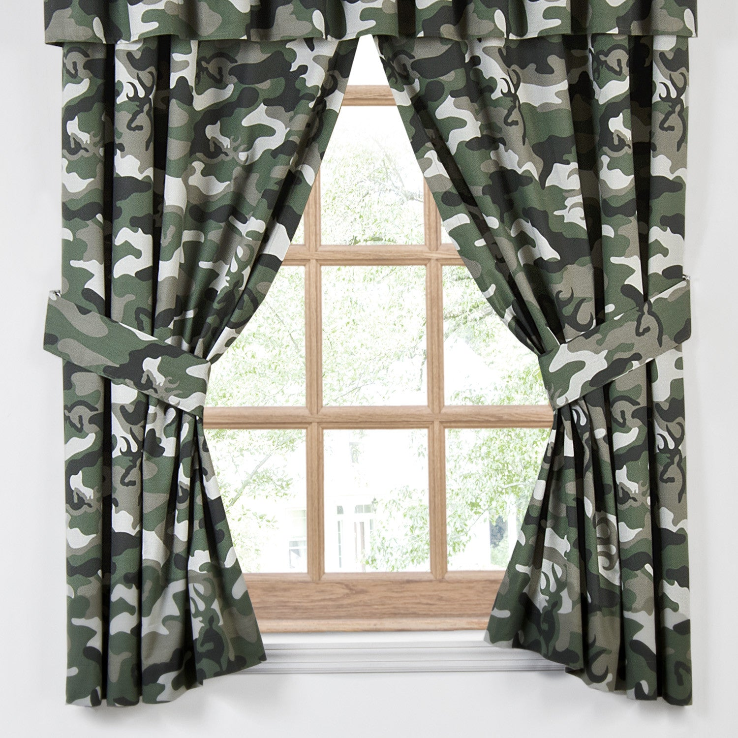 Buckmark Camo Green Rod Pocket Curtains - Back40Trading2