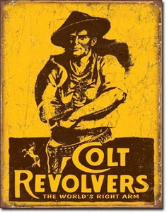 Colt Revolvers World's Right Arm Distressed Retro Vintage Tin Sign - Back40Trading2