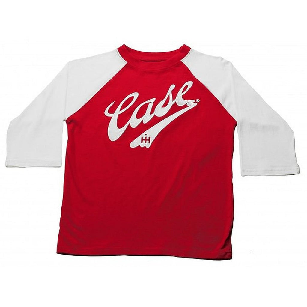Case IH Little Boys 3/4 Sleeve Raglan Red and Black T-Shirt