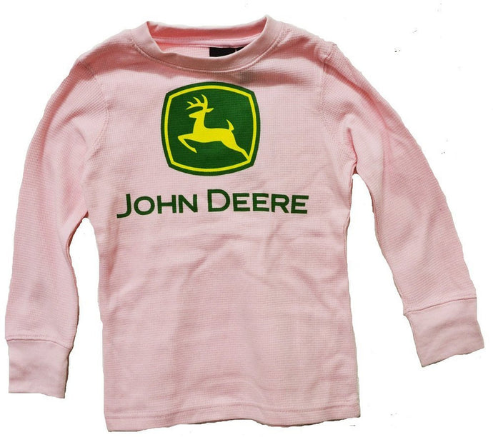 John Deere Little Girls Thermal Long Sleeve Tee Pink - Back40Trading2
