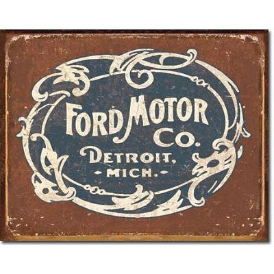 Ford Motor Co Historic Logo Distressed Retro Vintage Tin Sign - Back40Trading2