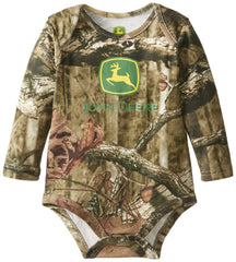 John Deere Baby-Boys Newborn Long Sleeve Trademark Bodyshirt Mossy Oak - Back40Trading2