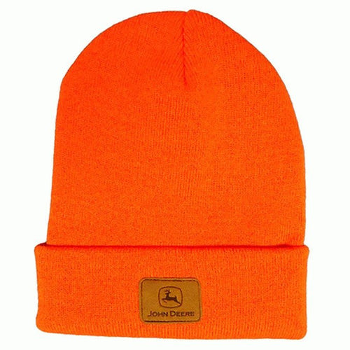 John Deere High Vis Hunter Orange Knit Beanie Hat - Back40Trading2