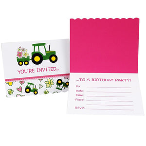 John Deere Pink Invitations (8) - Back40Trading2