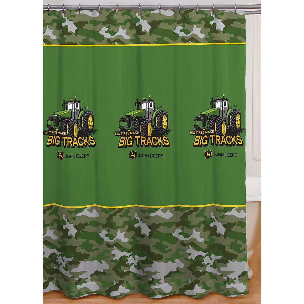 "John Deere Shower Curtain Big Tracks Fabric 72""x72"""
