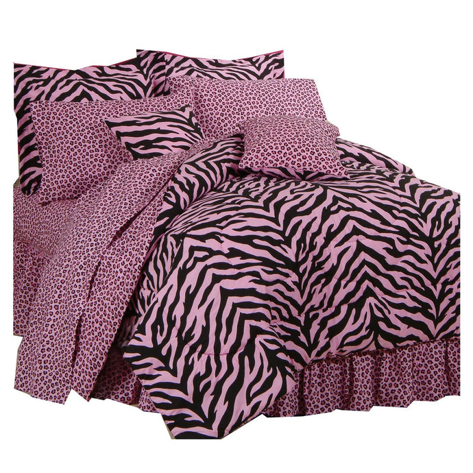Pink Zebra + Leopard - Complete Bedding Set - Twin - Back40Trading2