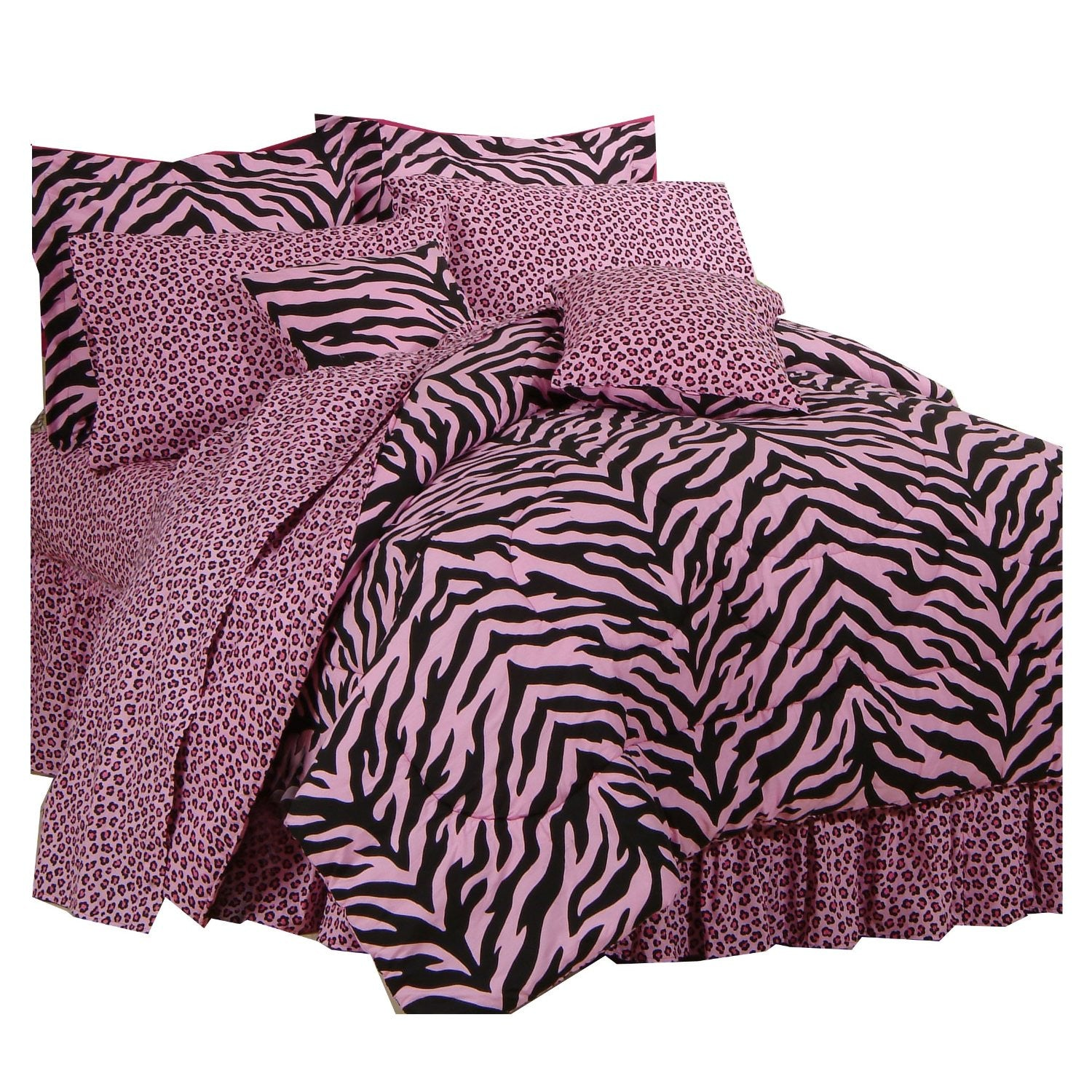 Pink Zebra Print Bed in a Bag (Queen) - Back40Trading2