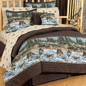 River Fishing Comforter Set  Queen - Back40Trading2