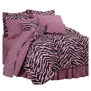 Zebra Print Bed in a Bag - Pink/Black Twin XL - Back40Trading2