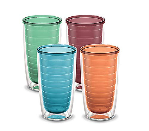 Tervis Clear & Colorful 4 Pack 16oz Tumbler Set, Trend Colors Mixed