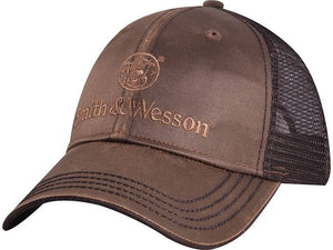 Smith & Wesson Oilskin Mesh Backed Hat, Brown - back40trading2