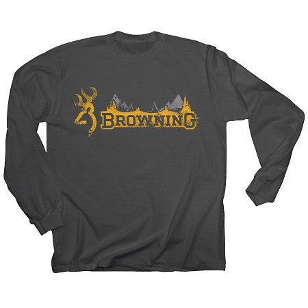 Browning Men's Skyline Long Sleeved T-shirt Charcoal - Back40Trading2