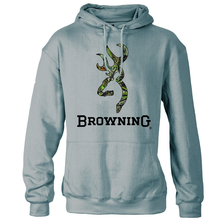 Browning® Men's Mossy Oak Obsession® Camo Buckmark Sweatshirt Sports Gray - Back40Trading2