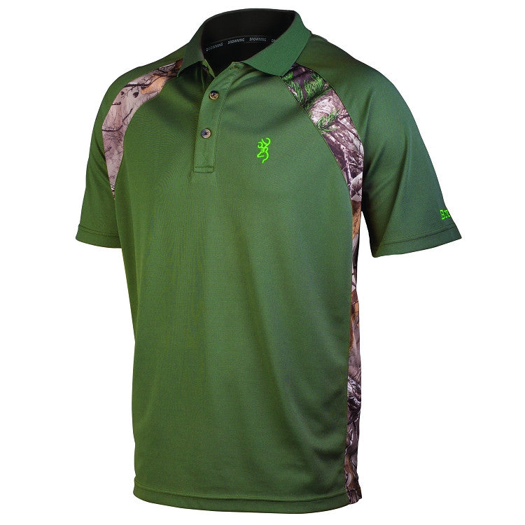 Browning Men's Flintlock Realtree® Camo Accents Polo Shirt Clover - Back40Trading2