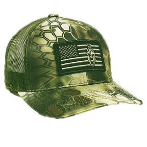 Kryptek Mandrake USA Flag Patch Mesh Back Fishing, Hunting, Military Cap- Back40Trading2
