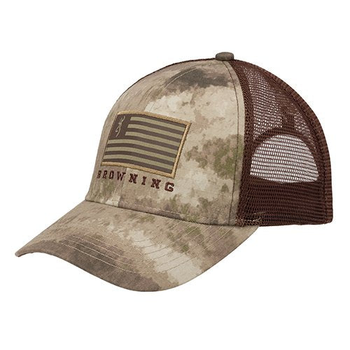 Browning Mesh Flag Hat, Patriot, A-TACS Au- Back40Trading2