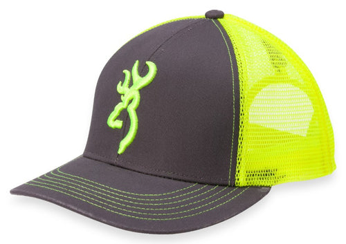 Browning Flashback Hat,Charcoal/Neon Yellow- Back40Trading2