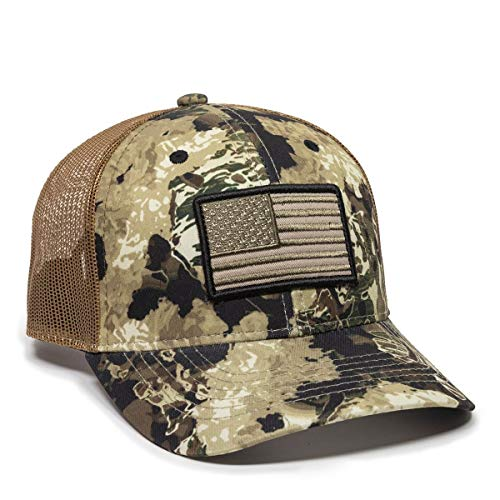 Veil Camo Whitetail/Brown USA Flag Mesh Backed Hat, Brown