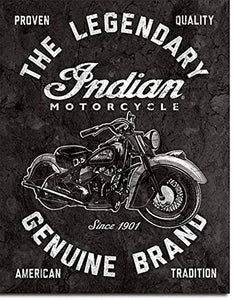 "Indian Motorcycles - Legendary Tin Sign 12.5"" x 16"" H"