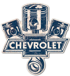 "Chevrolet Metal Sign Die Cut Large Piston Logo 24.5 x 23.5""- Back40Trading2"