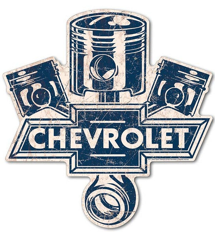 Chevrolet Metal Sign Die Cut Large Piston Logo 24.5 x 23.5