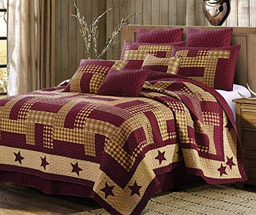 Duke Imports 3-Piece Homestead Microfiber Red Quilt Set