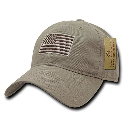 Rapid Dominance American Flag Embroidered Washed Cotton Baseball Cap - Khaki- back40trading2