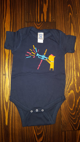 "Kids ""Jazz Kitten"" Navy Onesies"
