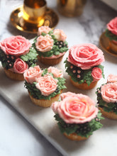 Load image into Gallery viewer, Six Of Nine TeaCups Hand crafted Valentines Day Cupcakes sit on top of a white and black marble board, each individually decorated with our signature Vegan Buttercream Roses