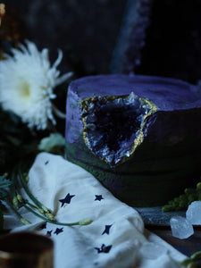 Nine TeaCups Geode Cake with rich purple and green buttercream