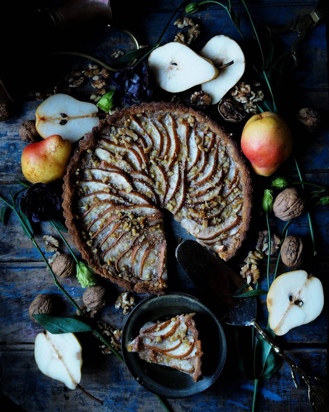 Pear Walnut and Marzipan Tart