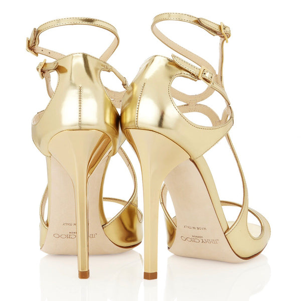 "Jimmy Choo ""Lance"" gold mirror leather sandals"